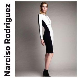 NWT NARCISCO RODRIGUEZ SLIM TWO TONE PONTE DRESS L